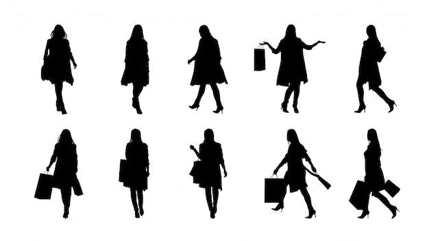 Conjunto de silhueta moda mulher