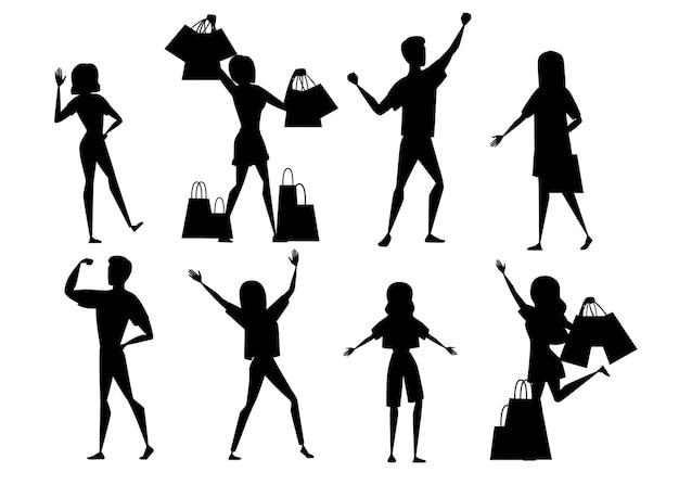 Conjunto de silhueta negra de pessoas felizes, homens e mulheres, vestindo roupas casuais e com sacolas de compras