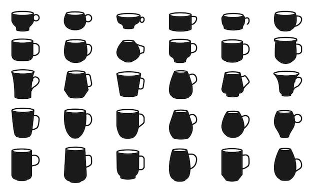 Conjunto de silhueta negra xícara de café