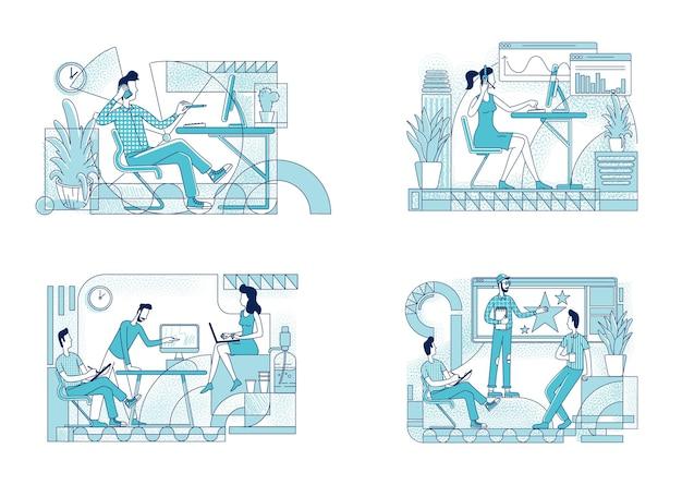 Conjunto de silhueta plana de coworking de funcionários.