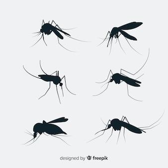 Conjunto de silhueta plana mosquito