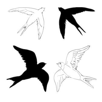 Conjunto de silhueta preto e branco de andorinha