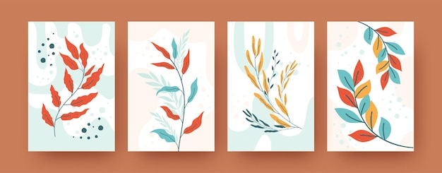 Conjunto de silhuetas abstratas de botânica em estilo pastel. várias ilustrações de ramos de vegetação. conceito de natureza e plantas