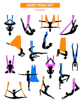 Conjunto de silhuetas de aero yoga preto branco
