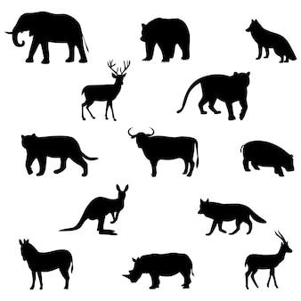Conjunto de silhuetas de animais