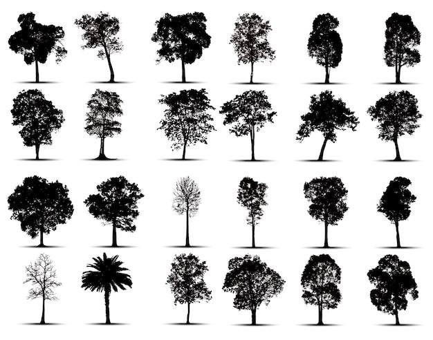 Conjunto de silhuetas de árvore