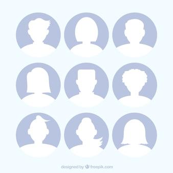Conjunto de silhuetas de avatar