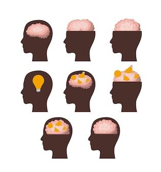 Conjunto de silhuetas de cabeças marrons com cérebros