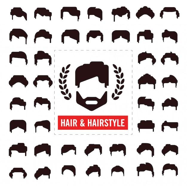 Conjunto de silhuetas de cabelo, homem e mulher penteado