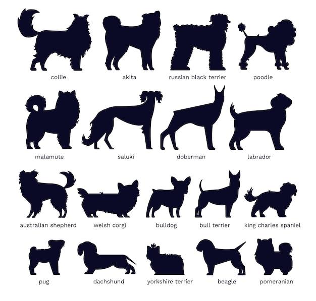 Conjunto de silhuetas de cães