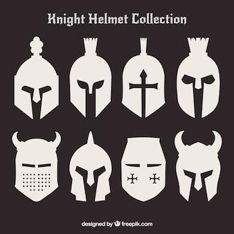 Conjunto de silhuetas de capacetes