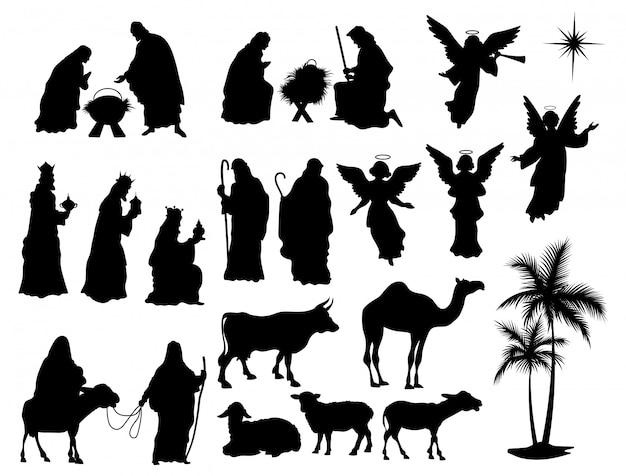 Conjunto de silhuetas de cena da natividade. coleção de figuras cristãs tradicionais noite santa.