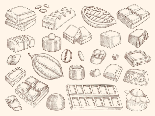 Conjunto de silhuetas de chocolate