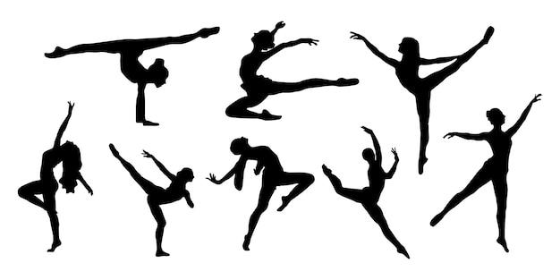 Conjunto de silhuetas de dança de balé com estilos de anatomia do corpo de mulheres