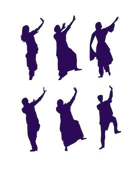 Conjunto de silhuetas de dançarinos clássicos indianos