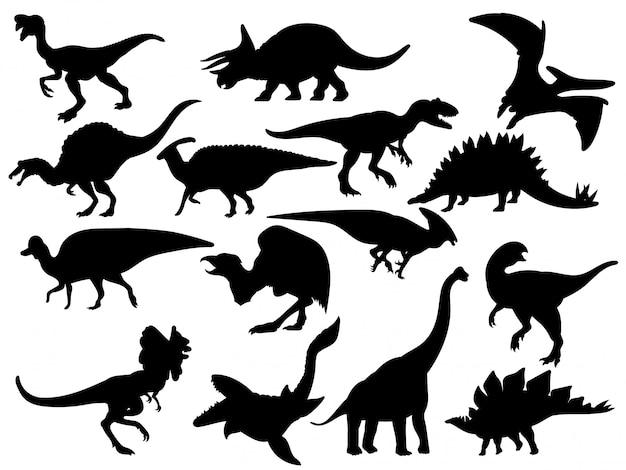 Conjunto de silhuetas de dinossauro. coleção de animais extintos.