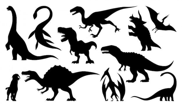 Conjunto de silhuetas de dinossauro