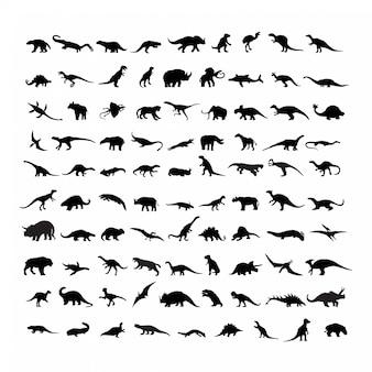 Conjunto de silhuetas de dinossauros