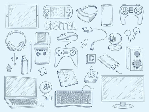 Conjunto de silhuetas de dispositivos de computador