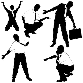 Conjunto de silhuetas de empresários