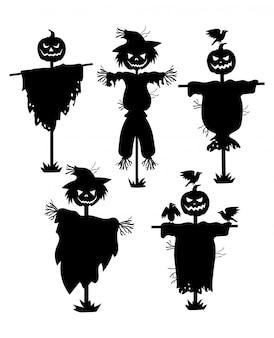 Conjunto de silhuetas de espantalhos. coleção de silhuetas negras recheadas com cabeça de abóbora.