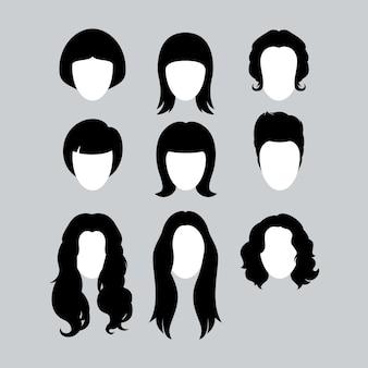 Conjunto de silhuetas de estilo de cabelo preto para mulher