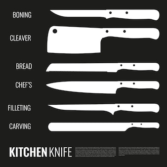 Conjunto de silhuetas de facas brancas de diferentes formas para vários produtos e finalidades em preto