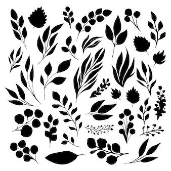 Conjunto de silhuetas de folhas pretas com tinta. ilustração vetorial isolada