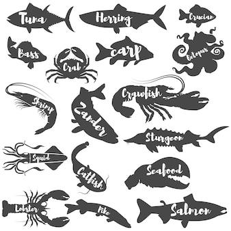 Conjunto de silhuetas de frutos do mar com letras.