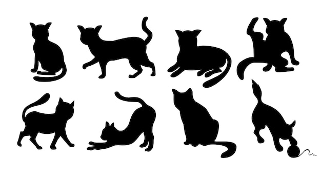 Conjunto de silhuetas de gatos ícones de gatos elegantes desenhos animados engraçados curiosidade coleção de animais pretos