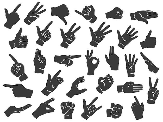 Conjunto de silhuetas de gestos de mão