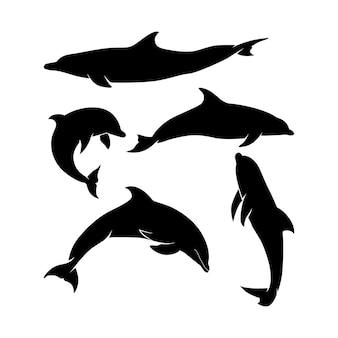 Conjunto de silhuetas de golfinhos salto stand mergulho para inspiração de design de ícone de logotipo