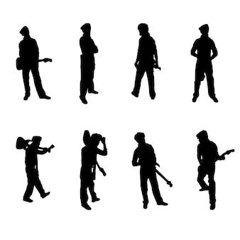 Conjunto de silhuetas de guitarristas