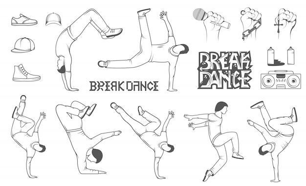 Conjunto de silhuetas de homem breakdance
