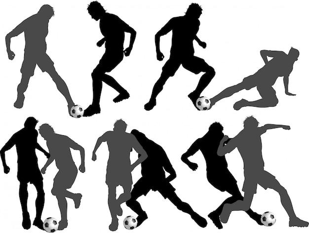 Conjunto de silhuetas de jogador de futebol