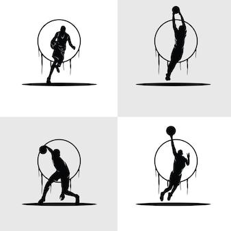 Conjunto de silhuetas de jogadores de basquete, ilustrações em preto e branco