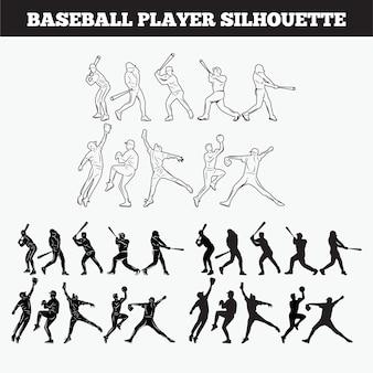 Conjunto de silhuetas de jogadores de beisebol