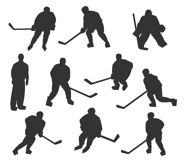 Conjunto de silhuetas de jogadores de hóquei no gelo
