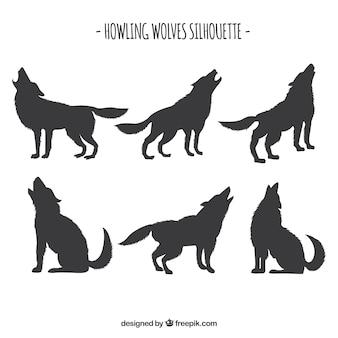 Conjunto de silhuetas de lobo