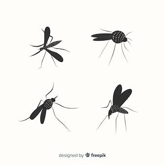 Conjunto de silhuetas de mosquito em estilo simples