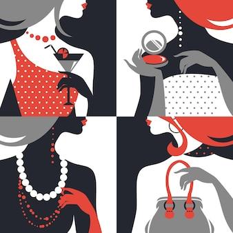 Conjunto de silhuetas de mulher bonita da moda. design plano