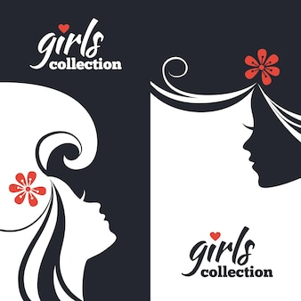 Conjunto de silhuetas de mulheres bonitas. banners de coleção para meninas