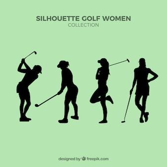 Conjunto de silhuetas de mulheres de golfe