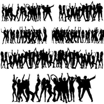 Conjunto de silhuetas de multidões negras