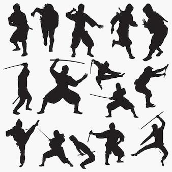 Conjunto de silhuetas de ninja