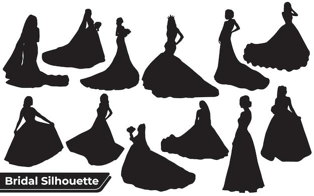 Conjunto de silhuetas de noiva em diferentes poses