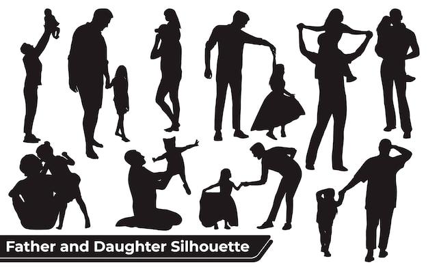 Conjunto de silhuetas de pai e filha em diferentes poses