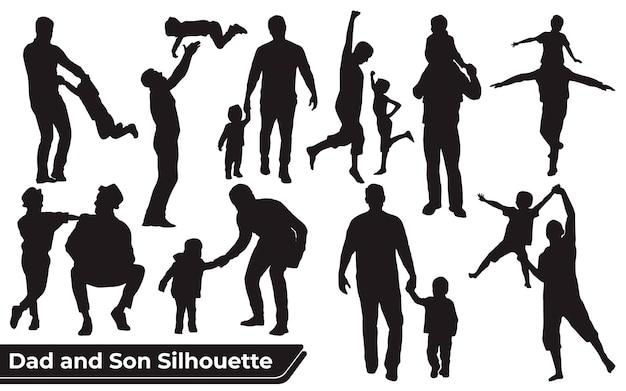 Conjunto de silhuetas de pai e filho ou pai e bebê em diferentes poses