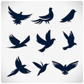 Conjunto de silhuetas de pássaros