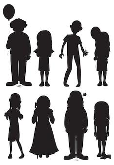 Conjunto de silhuetas de personagens fantasmas de halloween